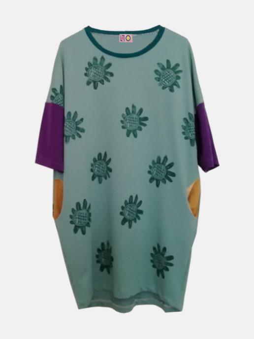 vestido adulta estampada girasoles verde