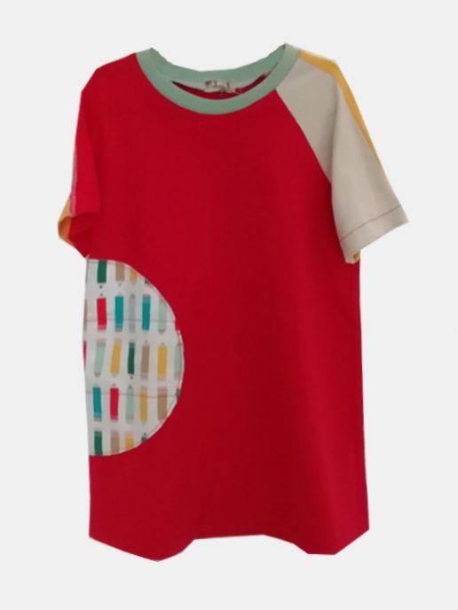 vestido-camiseta-nio-infantil-rojo-y-lpices