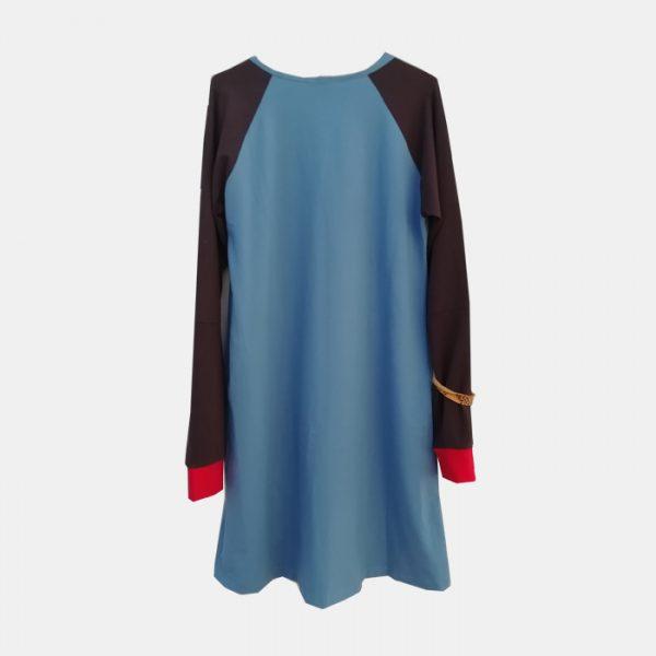 vestido-adulta-azul-estampacin-manzana-trasera